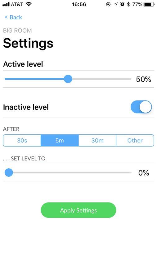 Configuración de tareas en dispositivos móviles IOS Android, reducción de intensidad lumínica a los 5 minutos de inactividad